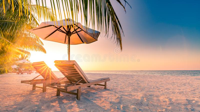 Vacation holidays background wallpaper, two beach lounge chairs under tent on beach. Beach chairs, umbrella and palms on the beach royalty free stock photo