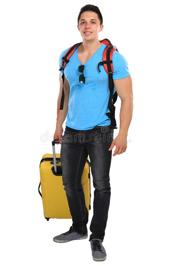 Vacation holidays young man with luggage travel traveling smiling isolated royalty free stock photos