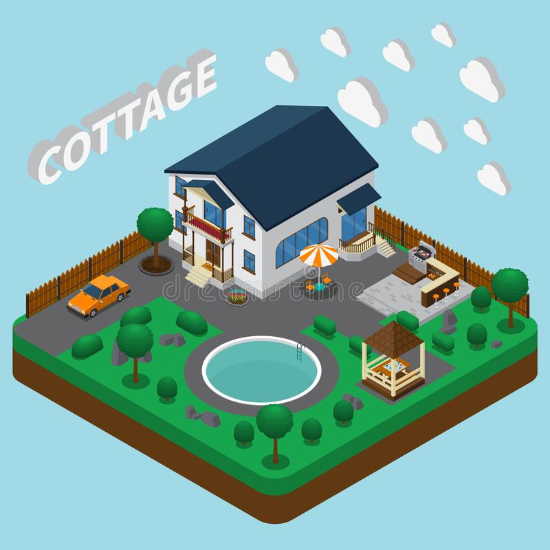 Vacation Home Isometric Composition stock illustration
