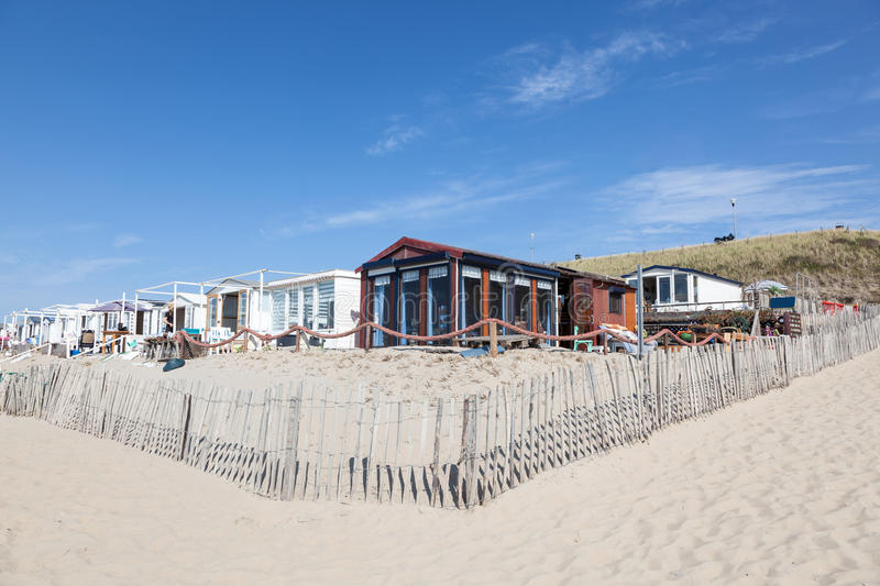 Vacation homes on the beach in Netherlands royalty free stock image