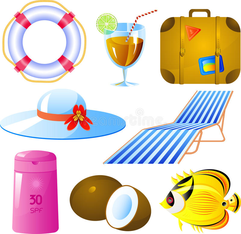 Download Vacation icon set stock vector. Image of climate, belt - 9650671