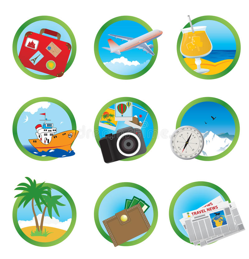 Download Vacation icons stock vector. Illustration of relax, climate - 18928857