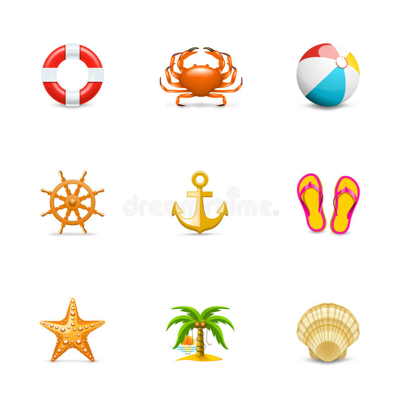 Download Vacation icons stock vector. Illustration of beach, marines - 24085906