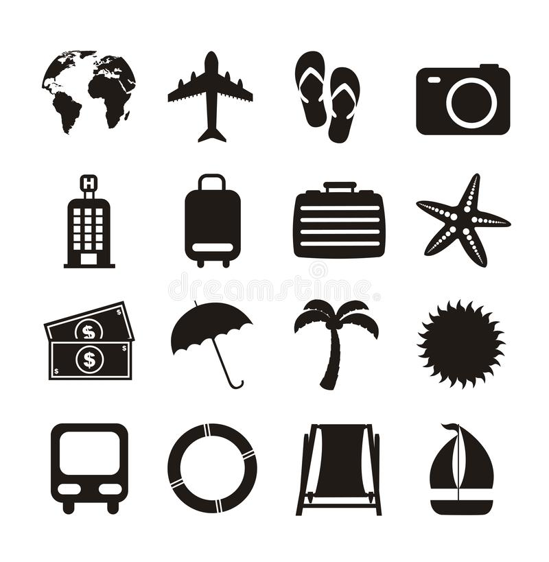 Vacation icons. Black vacation icons isolated over white background vector illustration