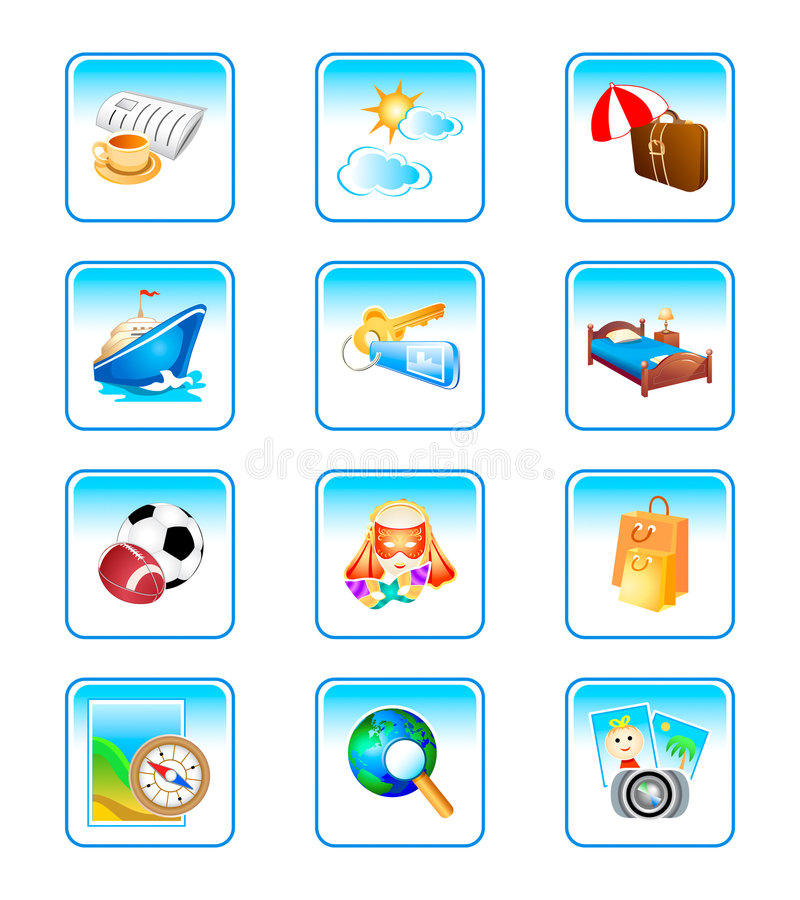 Download Vacation icons stock vector. Illustration of leisure, movement - 5264332