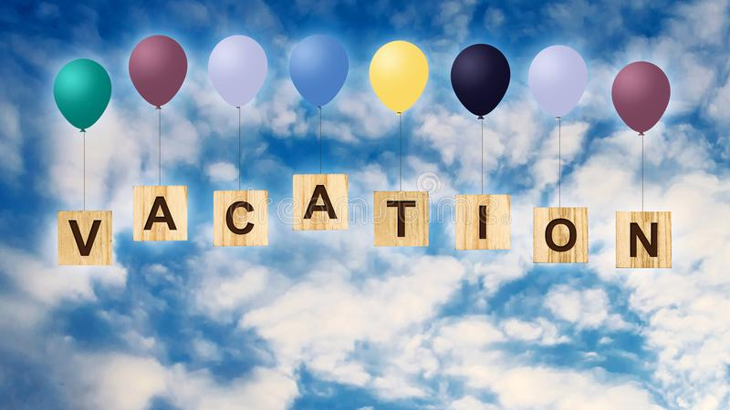 Vacation. The inscription on wooden cubes with multi-colored inflatable balls against the blue cloudy sky. The concept of summer h. Vacationr. The inscription on vector illustration