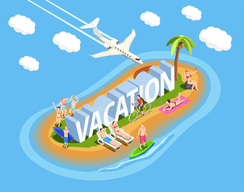 Vacation Isometric Composition stock illustration