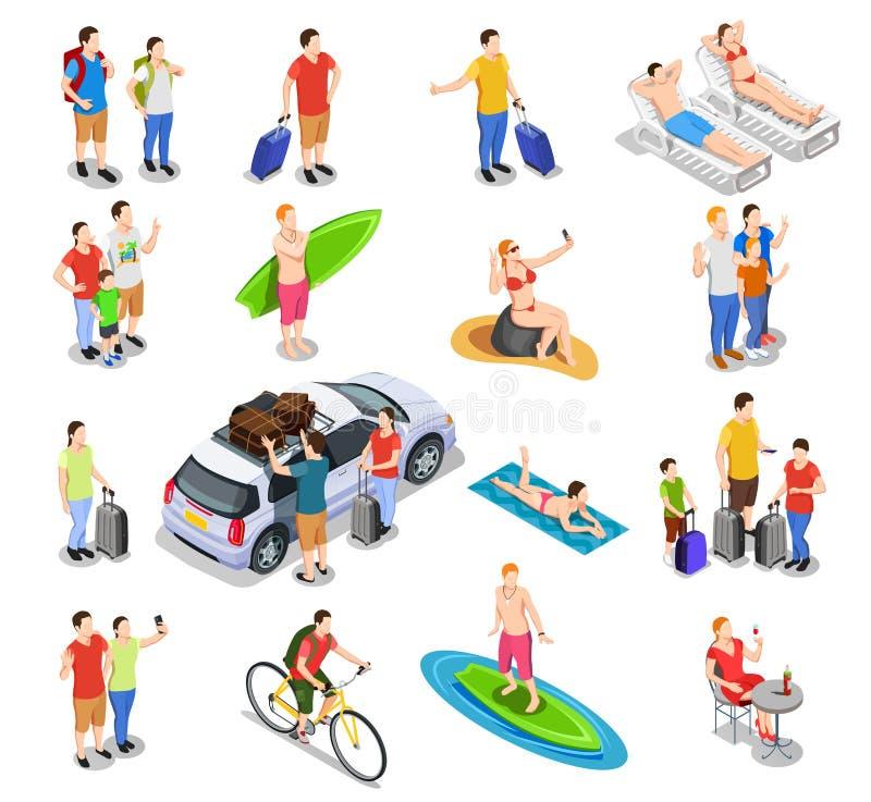 Vacation Isometric People Set royalty free illustration