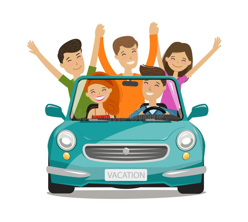 Vacation, journey concept. Happy young people or friends are traveling by car. Cartoon vector illustration. Isolated on white background vector illustration