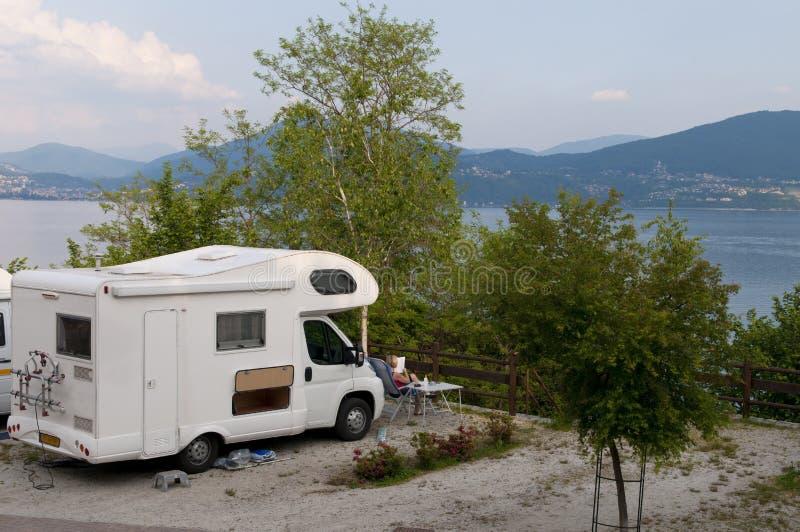 Vacation at lake maggiore. With motor home at lake maggiore, Italy royalty free stock image