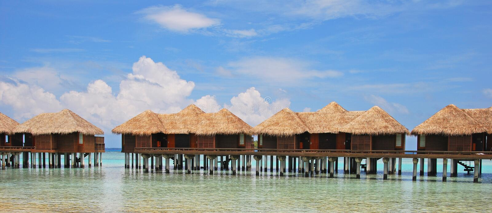 Vacation of a Life Time on Overwater Bungalow stock photos