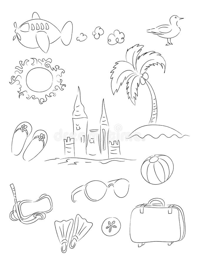 Vacation Line Drawings Set
