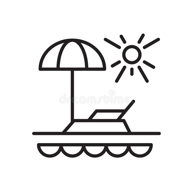 Vacation line icon, outline vector sign, linear style pictogram isolated on white. Beach, paradise symbol, logo illustration. Editable stroke. Pixel perfect stock illustration