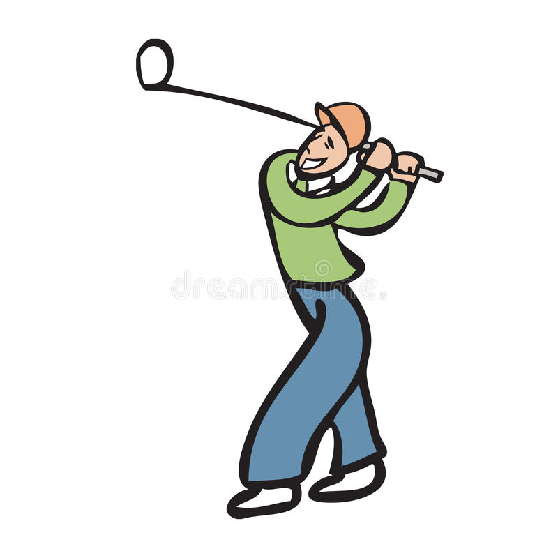 Vacation man playing golf. Character cartoon drawing of golfer vector illustration