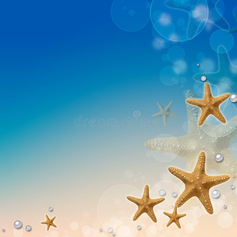 Vacation memories from beach. Seashell, pearls, bokeh stock illustration