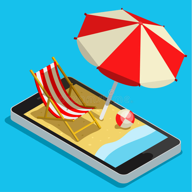 Vacation with mobile phone concept stock illustration