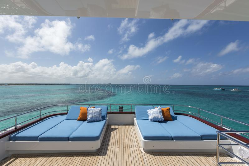 Vacation on Motor Yacht, details of Interior Luxury Yacht royalty free stock photography