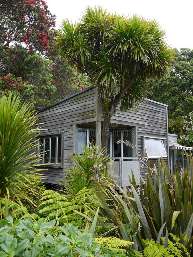 Vacation: NZ holiday cottage stock photography