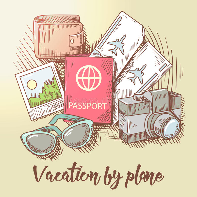 Vacation by Plane. Travel Around the World. Tourism by Airplane. Hand Drawn illustration royalty free illustration