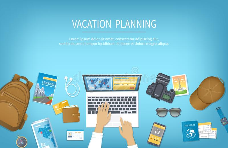 Vacation planning, packing Check List, reservation, booking a hotel. Preparing for travel, journey, trip. Table with baggage. Air ticket, passport, ID card stock illustration