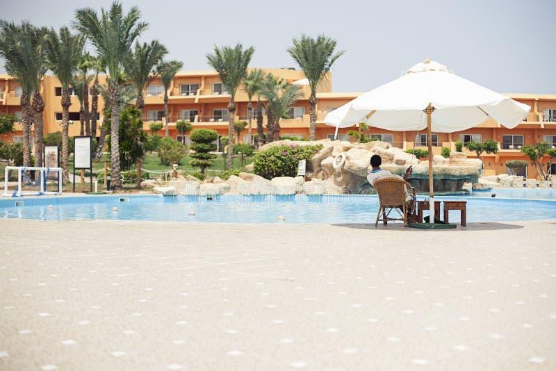 Vacation at popular hotel in Egypt. Bar swimming pool sharm el sheikh, Egypt. Hotel, resort stock photography