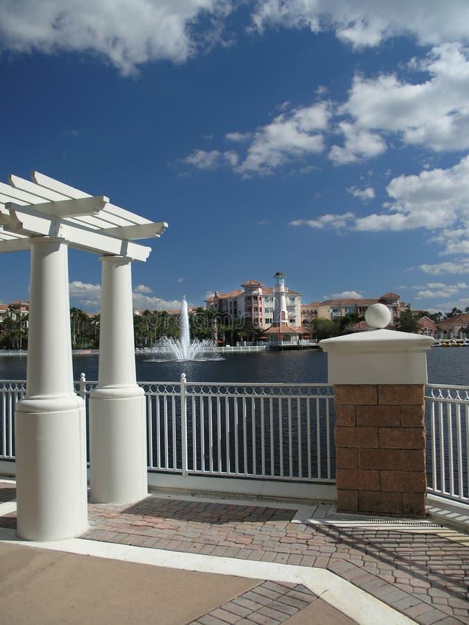 Download Vacation Resort Buildings Trellis & Lake 1 Stock Photo - Image: 3775188