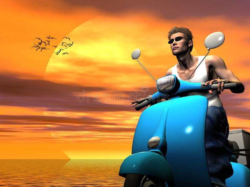 Vacation rider. royalty free illustration
