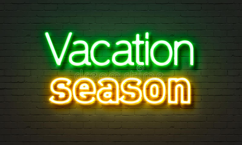 Vacation season neon sign on brick wall background. vector illustration