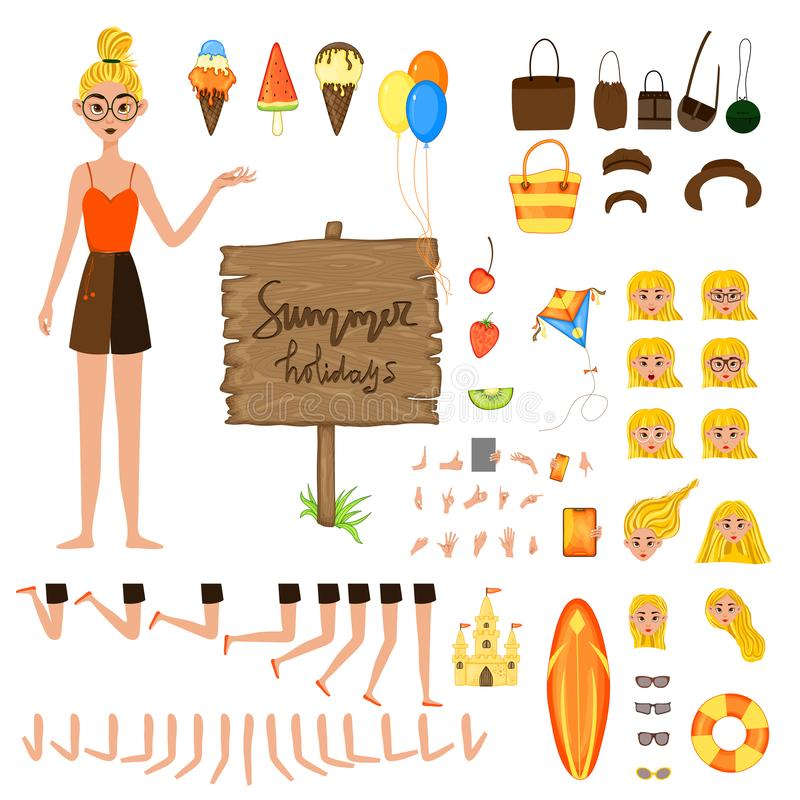 Vacation set of female characters. Girl with holiday attributes on a white background. Vector illustration vector illustration