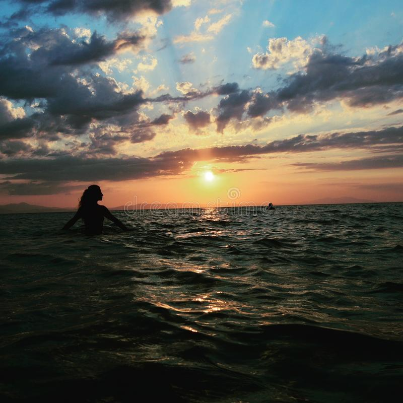 Vacation,sunset. One of my holidays photos.Photo was taken in turkey.i hope you yill like it.girl on fire stock photo