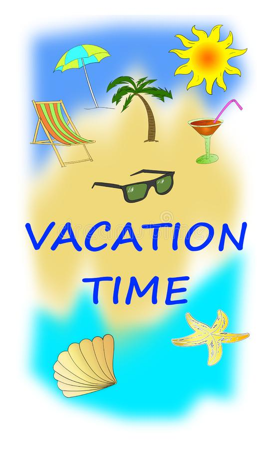 Vacation time concept on white background stock illustration