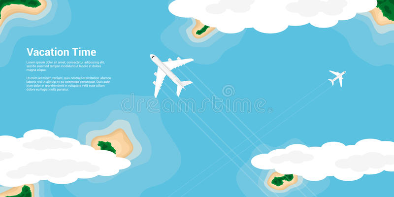 Vacation time concept. Picture of a civilian planes flying above the islands, flat style illustration, banner for business, website etc., traveling, vacation stock illustration