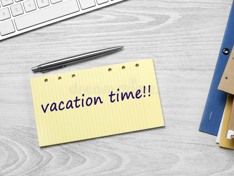 Vacation time message stock photos