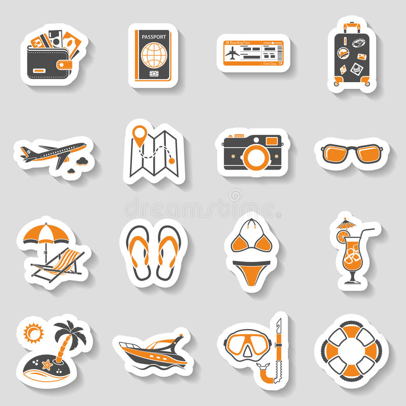 Vacation and Tourism Icons Sticker Set royalty free illustration