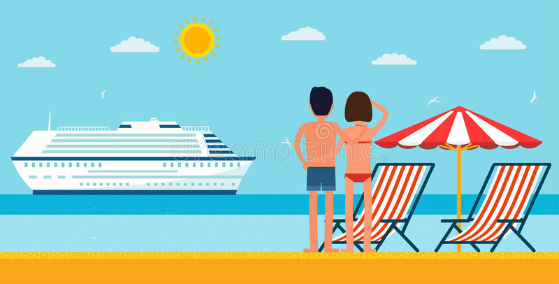 Vacation and travel. Cartoon young couple by the sea looking at a cruise ship. Sea beach with lounger and umbrella vector illustration