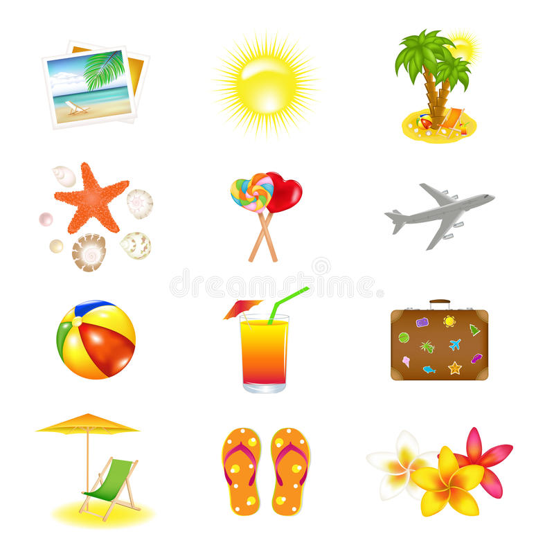 Download Vacation  And Travel Icons stock vector. Image of ball - 19168424