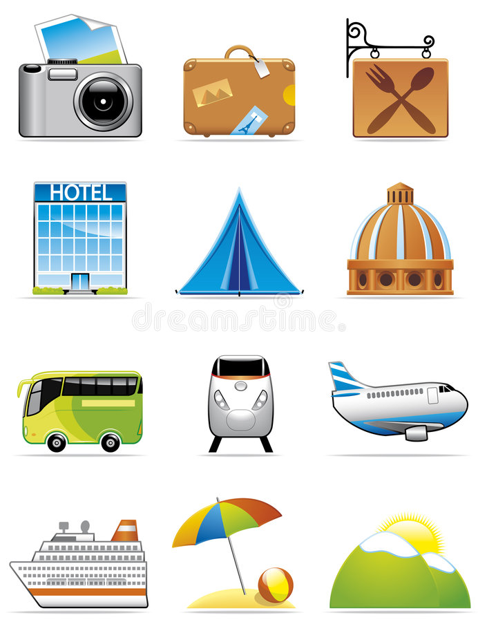 Vacation and travel icons vector illustration