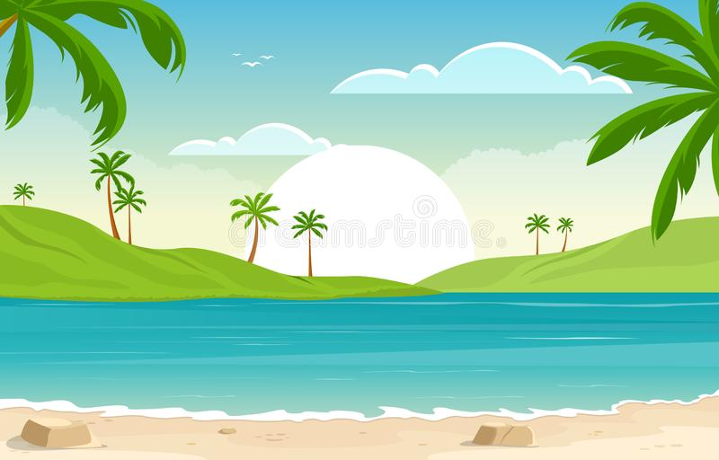 Palm Trees Tropical Paradise Beach Ocean Sunset Framed Panorama Picture