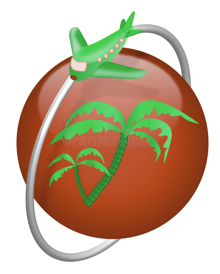 Download Vacation Tropical Island Travel Button Airplane Stock Illustration - Illustration: 14629603