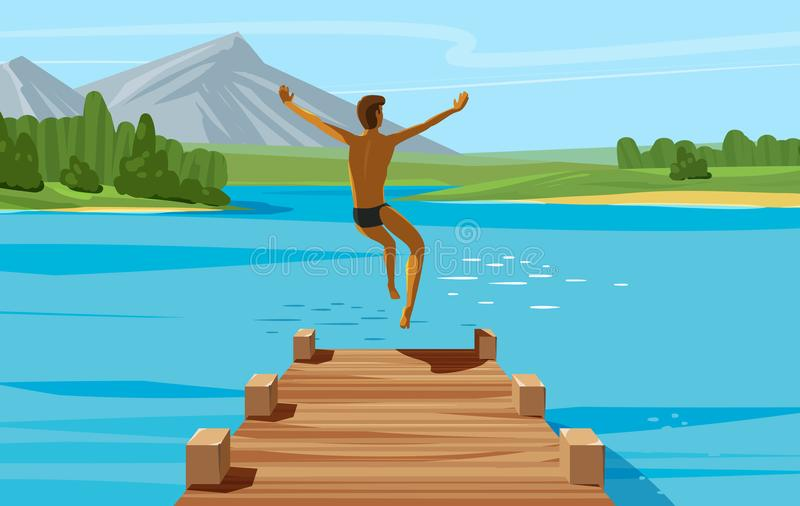 Vacation, weekend, relax concept. Young man jumping into lake or water. Vector illustration stock illustration