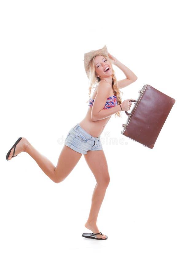 Vacation woman travel bag stock photos