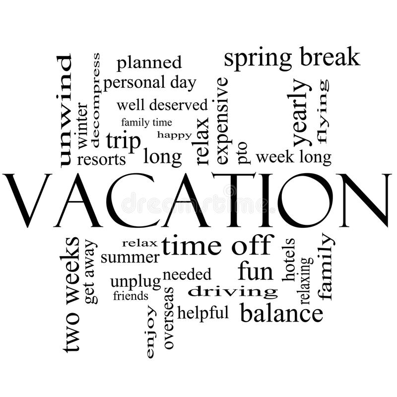 Download Vacation Word Cloud Concept In Black And White Stock Illustration - Image: 27652911
