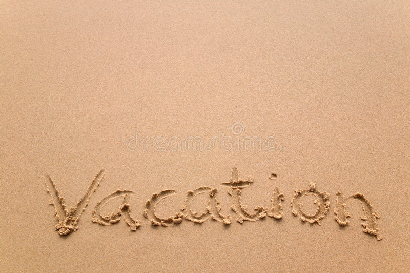 Download Vacation Written In Sand Royalty Free Stock Image - Image: 3669626
