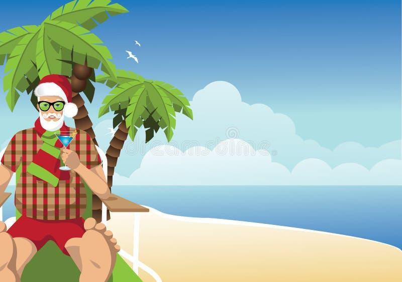 Vacationingskerstman op het strand met martini-achtergrond stock illustratie