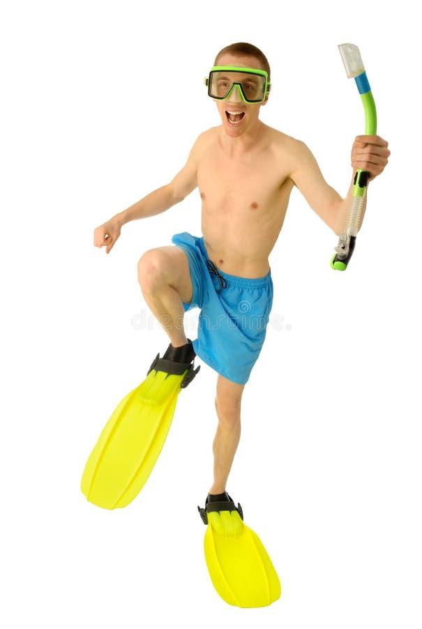 Vacationist pronto per immersione subacquea fotografie stock libere da diritti