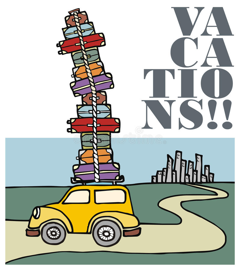 Vacations: a car running away from the city. royalty free stock photos