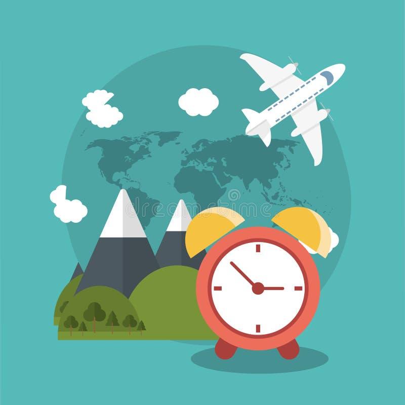 vacations clock mountain plane world stock illustration