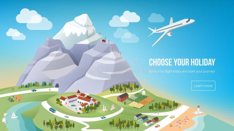 Vacations la bannière illustration libre de droits