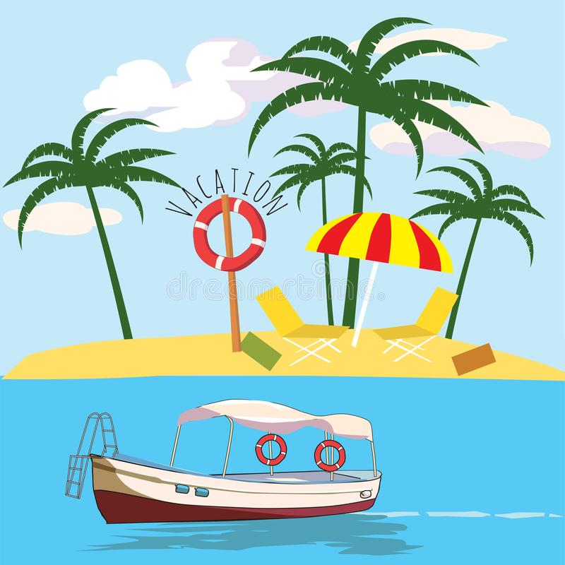 Vacations, leisure boat, palm, banner, vector illustration. Vacations, leisure boat palm banner vector stock illustration