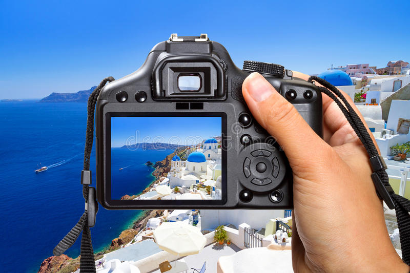 Download Vacations On Santorini Island With The Camera Stock Image - Image: 31405557